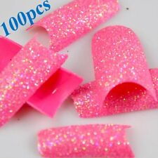 100x Nail Tips Stunning Glitter Super Pink Acrylic French False Nail Art Tips LW
