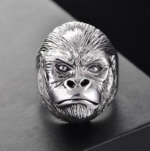 925 Silver Vintage Gorilla Ring King Kong Animal Men Ring Punk Rock Jewelry