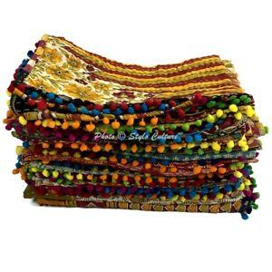 Indian Reversible Kantha Baby Quilt Handmade Designer Flower Bedding Quilt baby