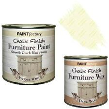 Paint Factory Chalk Chalky Furniture Paint 250ml Antique White + 0.2L Dark Wax