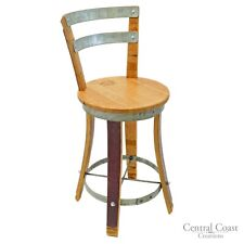 "Wine Barrel Stool SWIVEL Top W/ Backrest 24"" 26"" 30"" Sit Height Rustic Furniture"