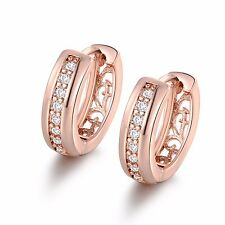 Amazing earrings!  18k rose gold filled lady round white topaz hoop earring