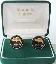 IRELAND cufflinks made from old IRISH 10p in Black & Gold with Salmon