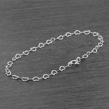 "Genuine 925 Sterling Silver 7.5"" 3mm Heart Link Bracelet 19cm"
