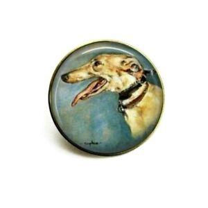 Handmade Gold Tone Greyhound Dog Art Brooch