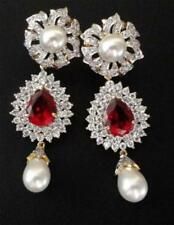 Cubic Zirconia Designer RED Dangle Pearl Earrings 3012 46E 94