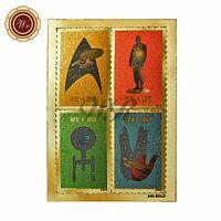 Star Trek 50th Anniversary Stars on Non Postage 24k Gold Foil Stamps Set of 4pcs