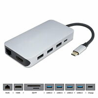 USB-C HDMI Ethernet Dock 4 Ports HUB TF SD Charger Card Reader Multiport Adapter
