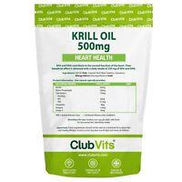 Krill Oil 500mg 90 Capsules Heart Health Astaxanthin Marine Pure ClubVits