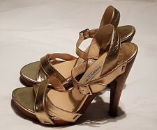 Jimmy Choo Gold Strappy Stiletto Sandals Size 37 UK 4