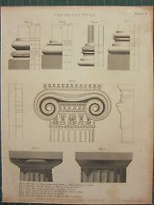 1804 DATED ANTIQUE PRINT ~ ARCHITECTURE COLUMN BASE DORIC CAPITAL
