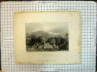 Old Engraving View Hill Samaria Camels People Hills Bentley Bartlett