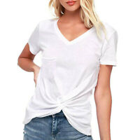 Women Summer Tunic Blouse Casual Ladies Loose V Neck T-shirt Short Sleeve Tops