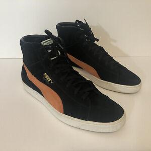 Puma Suede High Tops Sz 10 & 1/2 Men Black Orange Leather EUC