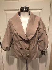 BCBG Max Azria Tan Double Breasted Jacket, Size Medium