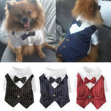 Gentleman Dog Clothes Suit Formal Shirt Pet Bowtie Tuxedo Outfits Costume