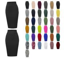 Basic Solid Ponte Knee Length Slit Techno Span High Waist  Pencil Skirt