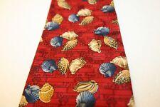 Kieselstein-Cord Seashell 100% silk necktie Red Blue Gray Tan Made in Italy