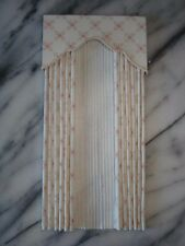 Cream Trellis  Dollhouse Curtains w/ Satiny Sheers -1:12 scale