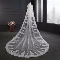 White Ivory Royal Cathedral Wedding Veil With Comb Cheap Bridal Veils Long 3M