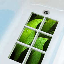 FM_ LN_ 6Pcs Bath Tub Shower Green Leaves Sticker Non Slip Anti Skid Decals Myst