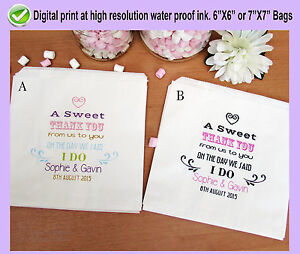 Personalised wedding sweet bags candy cart favour bag thank you love is sweet 63