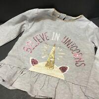 Baby Girls Size 12-18 Months Believe In Unicorns Grey Glitter Tee by Mud Pie