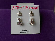 Betsey Johnson Authentic NWT Silver-Tone CZ Cat & Crown Duo Earring Set