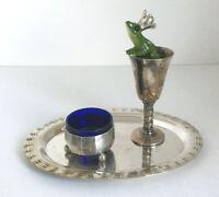 Silbernes Tablett mit Bordüre für Salieren kleine Milch und Zucker Sets Flaschen
