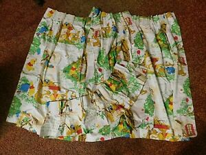Winnie the Pooh Drapes Curtains w Valance Vintage Sears **