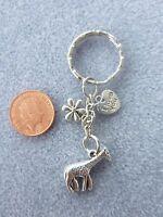 Antique Silver Cute Giraffe Charm Keyring Keychain Bag Charm Birthday Gift # 47
