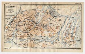 1930 ORIGINAL VINTAGE CITY MAP OF STRASBOURG / ALSACE / FRANCE