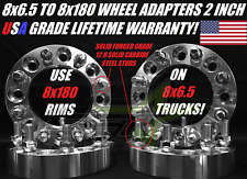 """8x6.5 to 8x180 Wheel Adapters 2"""" Solid Billet Use 8x180 Rims on 8x6.5 Trucks USA"""