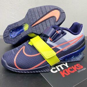 New Mens Nike Romaleos 4 Sz 7.5 Blackened Blue Weightlifting Shoes CD3463 400