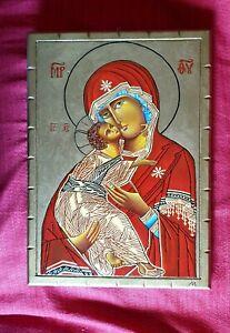 Icona Madonna Della Tenerezza dipinta A Mano da me.