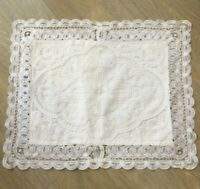 Antique French Cushion Cover Pillow case circa 1920s 1930s Small Tape Lace