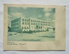 CARTOLINA CON MAPPA HOTEL BERENICE BENGASI LIBIA AFRICA 1930's BIGLIETTO POSTALE