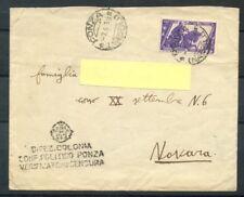 1934 - REGNO - BUSTA DA PONZA PER NOVARA - LOTTO/26746