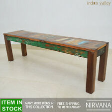 Nirvana Recycled reclaimed old timber Dining Table 140cm bench garden seat for 4