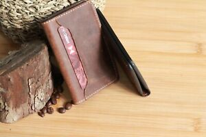 Leather wallet Handmade Card cowhide Hunters Thick leather 4 years Guarantee UK