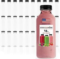 Stock Your Home 16 oz Empty Plastic Bottles with Lids - 35 Count