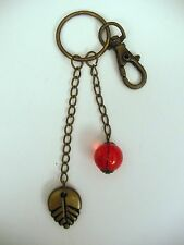 LEAF AND BEAD KEYRING KEYCHAIN