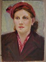 Russian Ukrainian Soviet Oil Painting Realism female portrait woman bonnet 1956y