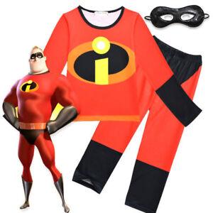 2-10 Years Kids Boys Incredibles Costume Children's Fancy Dress Cosplay Eye Mask
