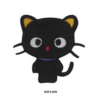 Cat Black cute Cat Embroidered Patch Iron on /Sew On Badge