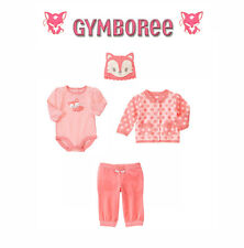 "Gymboree Baby girls ""Animal Friends""Foxy Hat/Sweater/Velour Pant/Top Set 0-3 M"