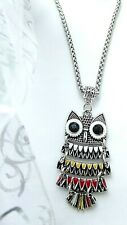 OWL BIRD MOVING BODY NECKLACE 22 INCH SILVER CHAIN 7 TO ADULT GIFT BOX BIRTHDAY