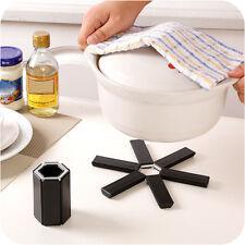 Black Foldable Non-slip Heat Resistant Pad Trivet Pan Pot Holder Mat Kitchen
