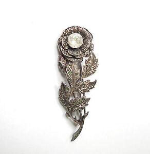 Vintage Silver Brooch Rose Flower Marcasite & CZ 925 Sterling Large 15.5g