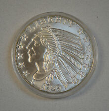 5 TROY OUNCE .999 FINE SILVER INCUSE INDIAN BU Free Shippping!
